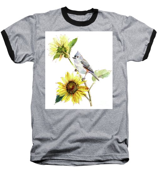 Titmouse With Sunflower Baseball T-Shirt