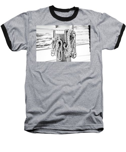 Baseball T-Shirt featuring the photograph To Sail Or Knot by Greg Fortier