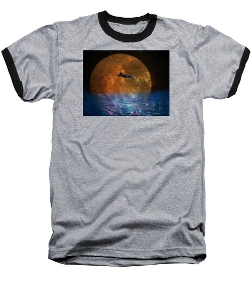 To The Moon And Back Cat Baseball T-Shirt by Kathy Barney