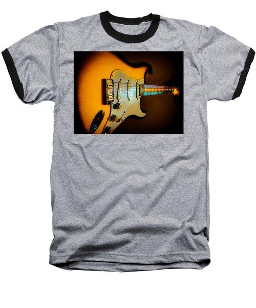 Baseball T-Shirt featuring the digital art Tobacco Burst Stratocaster Glow Neck Series by Guitar Wacky
