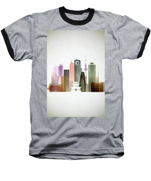 Tokyo  Cityscape Baseball T-Shirt by Dim Dom