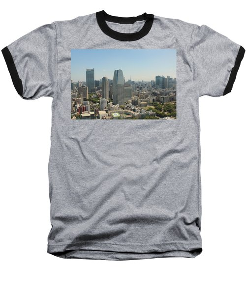 Tokyo Skyline Baseball T-Shirt by Jacob Reyes