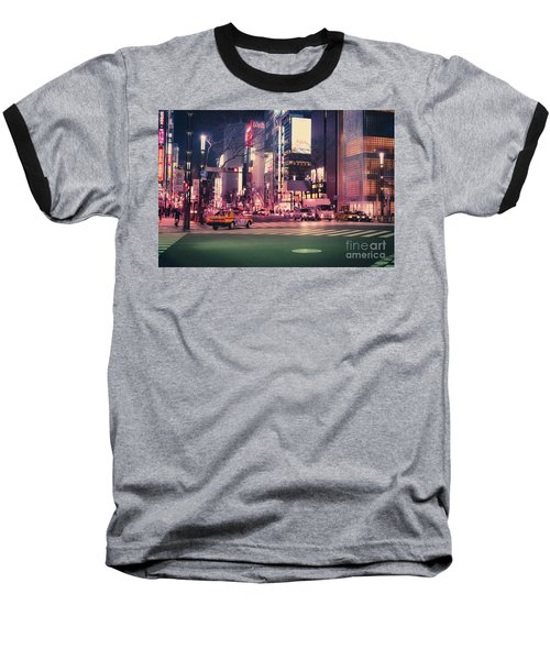 Baseball T-Shirt featuring the photograph Tokyo Street At Night, Japan 2 by Perry Rodriguez