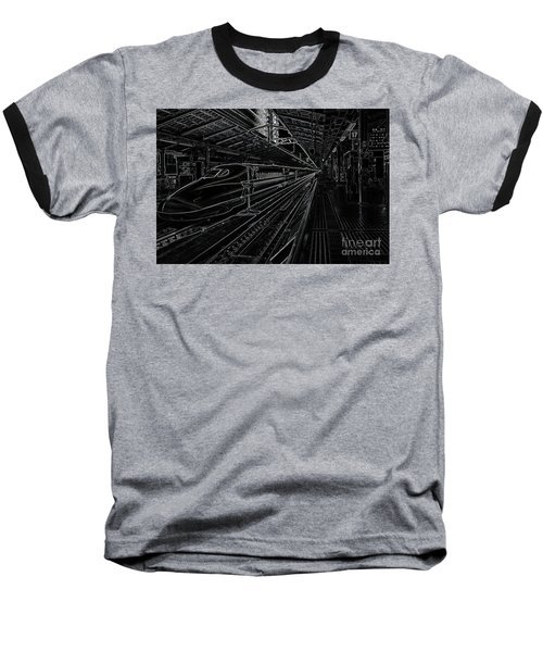 Baseball T-Shirt featuring the photograph Tokyo To Kyoto, Bullet Train, Japan Negative by Perry Rodriguez