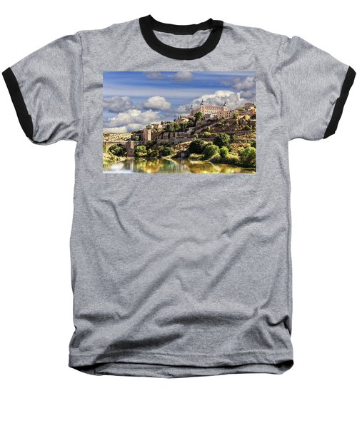 Toledo. Majestic Stone Fortress The Alcazar Is Visible From Any Part Of The City Baseball T-Shirt