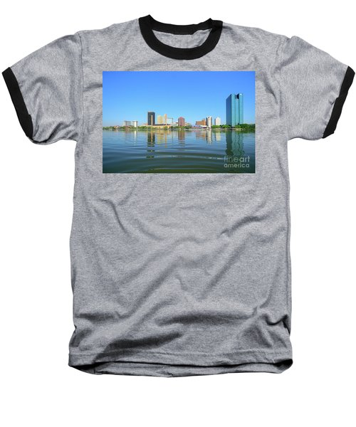 D12u-673 Toledo Ohio Skyline Photo Baseball T-Shirt