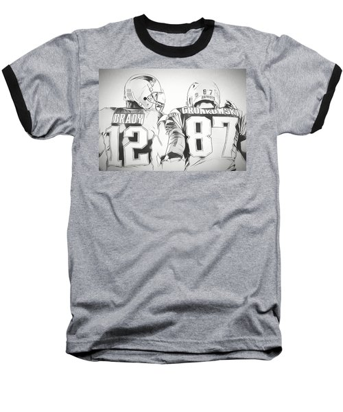 Baseball T-Shirt featuring the drawing Tom Brady Rob Gronkowski Sketch by Dan Sproul
