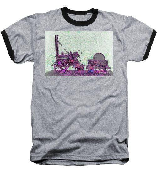 Stephenson's Rocket Steam Locomotive 1829 Baseball T-Shirt