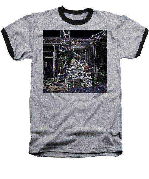 Tom Waits Jamming Baseball T-Shirt by Charles Shoup
