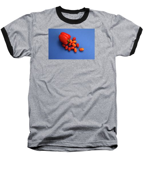 Tomatoes And Capsicum On Blue Baseball T-Shirt