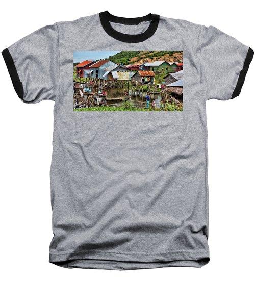 Tonle Sap Boat Village Cambodia Baseball T-Shirt