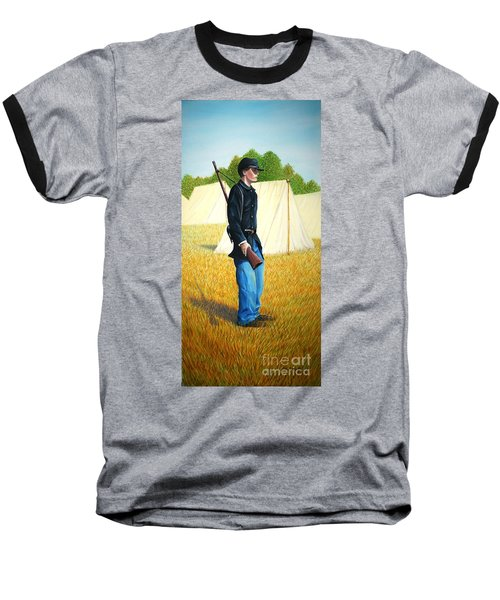 Baseball T-Shirt featuring the painting Too Young by Stacy C Bottoms