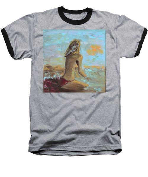 Topless Beach Baseball T-Shirt by Donna Blackhall