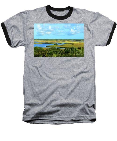 Topsail Island Marshland Baseball T-Shirt by Eva Kaufman