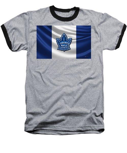 Toronto Maple Leafs - 3d Badge Over Flag Baseball T-Shirt