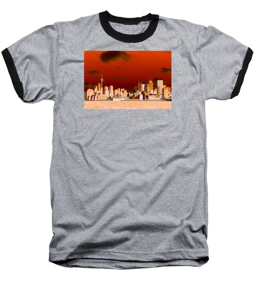 Baseball T-Shirt featuring the photograph Toronto Red Skyline by Valentino Visentini