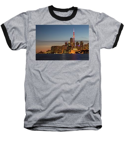 Baseball T-Shirt featuring the photograph Toronto Skyline At Dusk by Adam Romanowicz