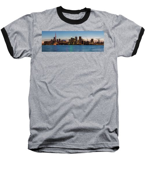Baseball T-Shirt featuring the photograph Toronto Skyline At Dusk Panoramic by Adam Romanowicz