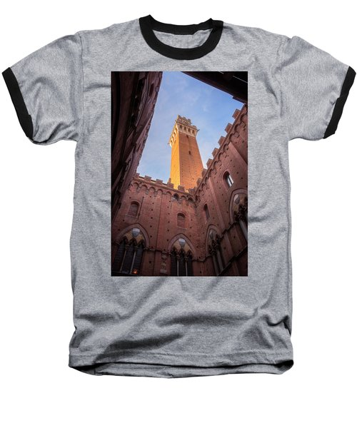 Baseball T-Shirt featuring the photograph Torre Del Mangia Siena Italy by Joan Carroll