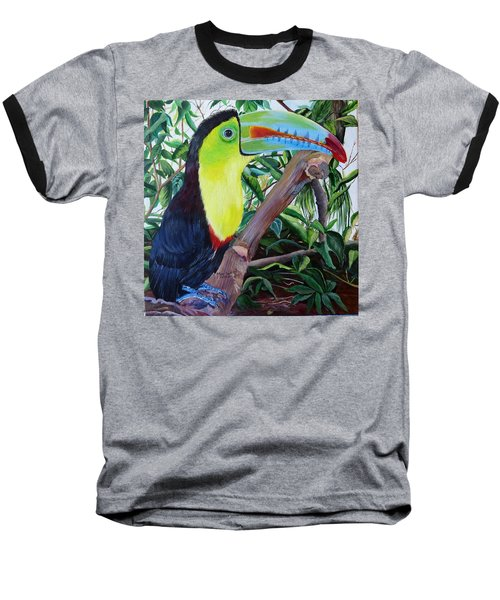Toucan Portrait Baseball T-Shirt by Marilyn McNish