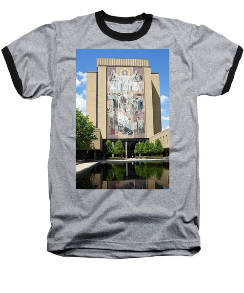 Touchdown Jesus Mural Baseball T-Shirt by Sally Weigand