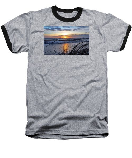 Baseball T-Shirt featuring the photograph Touching The Sunset by Kicking Bear Productions
