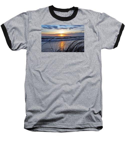 Touching The Sunset Baseball T-Shirt by Kicking Bear Productions