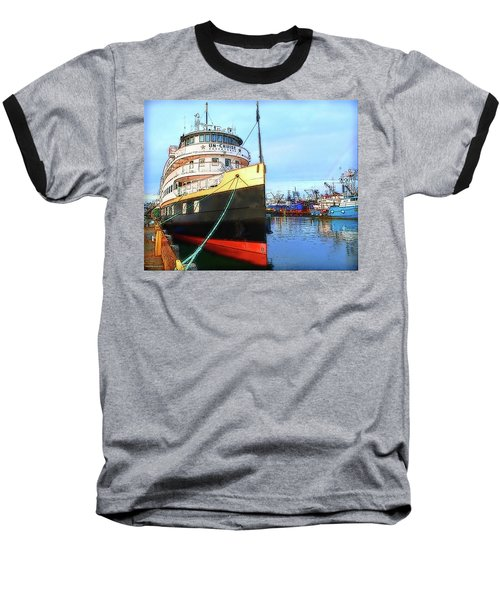 Tour Boat At Dock Baseball T-Shirt by Tobeimean Peter