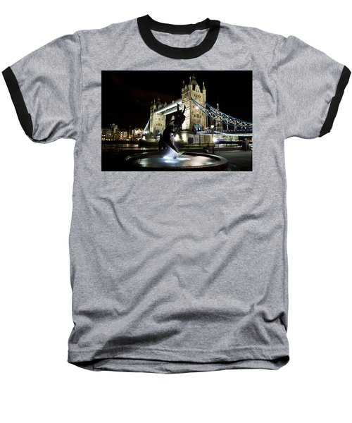 Tower Bridge With Girl And Dolphin Statue Baseball T-Shirt