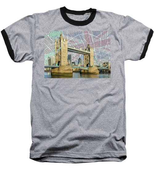 Baseball T-Shirt featuring the digital art Tower Bridge With Union Jack by Adam Spencer