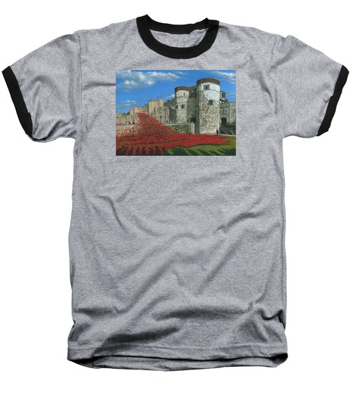 Tower Of London Poppies - Blood Swept Lands And Seas Of Red  Baseball T-Shirt