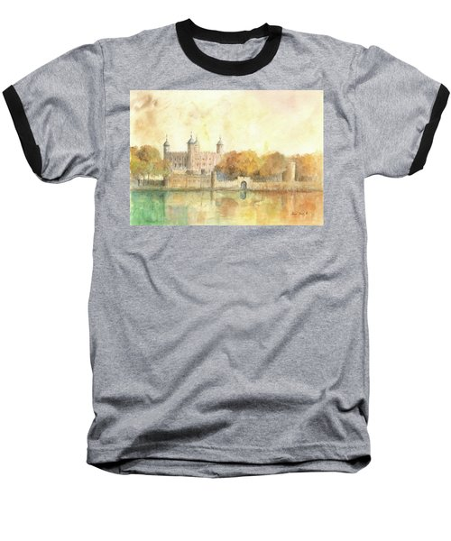 Tower Of London Watercolor Baseball T-Shirt by Juan Bosco
