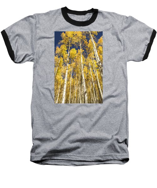 Baseball T-Shirt featuring the photograph Towering Aspens by Phyllis Peterson