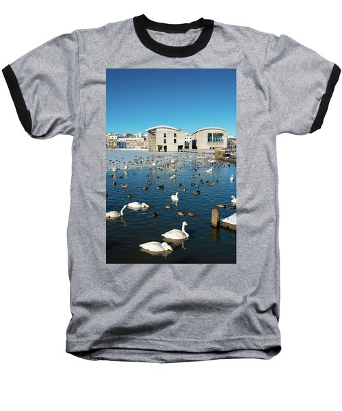 Baseball T-Shirt featuring the photograph Town Hall And Swans In Reykjavik Iceland by Matthias Hauser