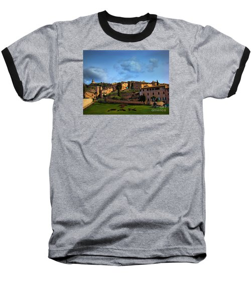 Town Of Assisi, Italy II Baseball T-Shirt by Al Bourassa