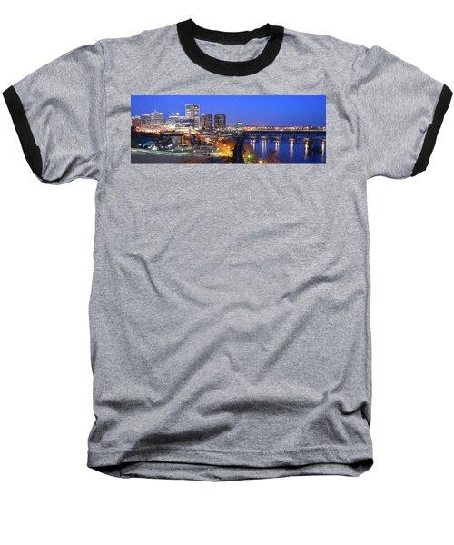 Tracks Into The City Wide Angle Baseball T-Shirt