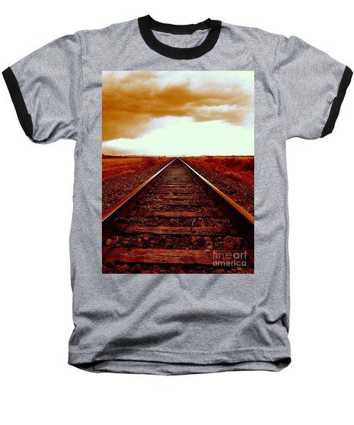 Marfa Texas America Southwest Tracks To California Baseball T-Shirt by Michael Hoard