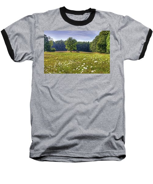 Tractor In Field With Flowers Baseball T-Shirt