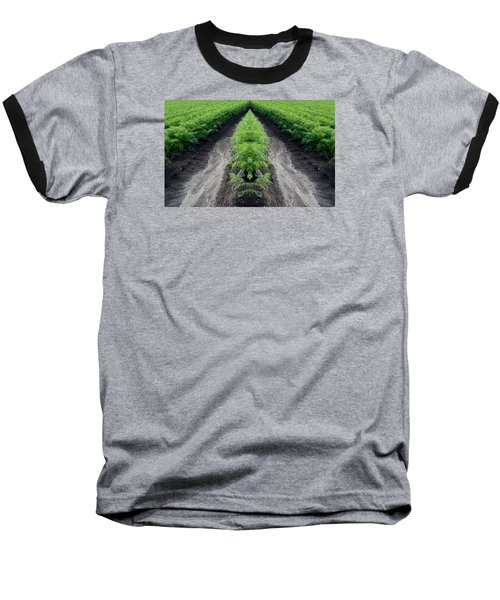 Baseball T-Shirt featuring the photograph Tractor Trail Through The Field 3  by Lyle Crump
