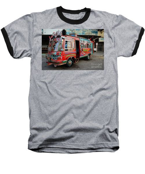 Traditionally Decorated Pakistani Bus Art Karachi Pakistan Baseball T-Shirt