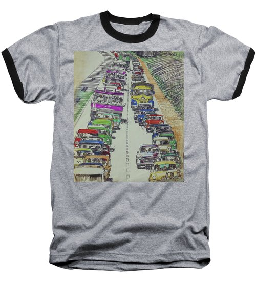 Baseball T-Shirt featuring the drawing Traffic 1960s. by Mike Jeffries