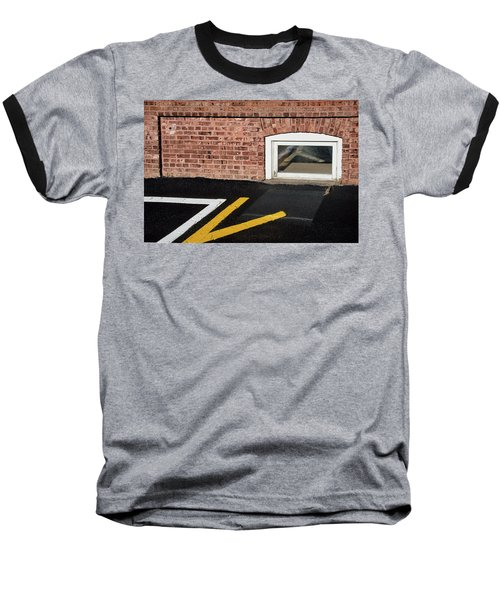 Baseball T-Shirt featuring the photograph Traffic Line Conversion In Window by Gary Slawsky