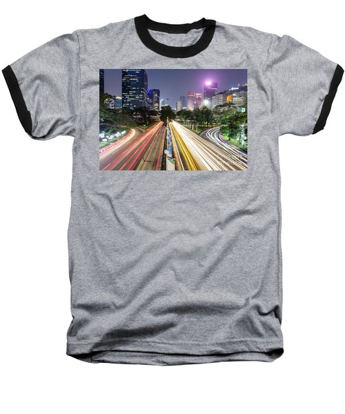Traffic Night Rush In Jakarta, Indonesia Capital City.  Baseball T-Shirt