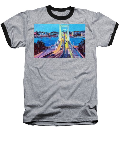 Traffic On Elisabeth Bridge At Dusk Baseball T-Shirt
