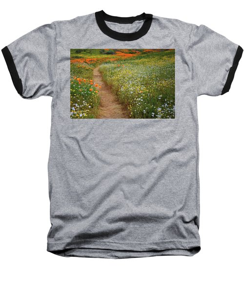 Baseball T-Shirt featuring the photograph Trail Of Wildflowers At Diamond Lake In California by Jetson Nguyen