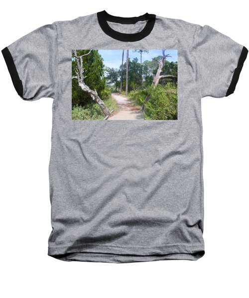 Trail On Hunting Island Baseball T-Shirt by Ellen Tully