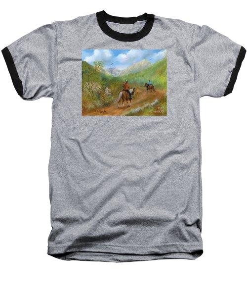 Trail Ride In Sabino Canyon Baseball T-Shirt by Judy Filarecki