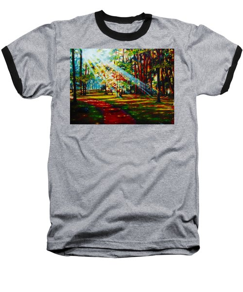 Baseball T-Shirt featuring the painting Trails Of Light by Emery Franklin