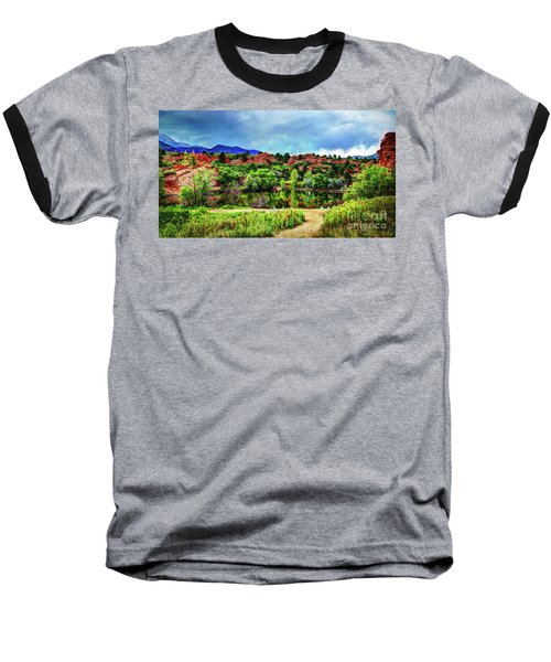 Baseball T-Shirt featuring the photograph Trails Of Red Rock Canyon by Deborah Klubertanz