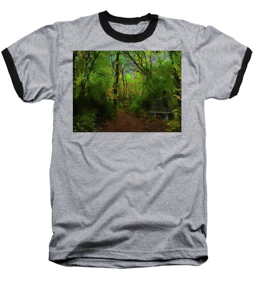 Trailside Bench Baseball T-Shirt by Cedric Hampton